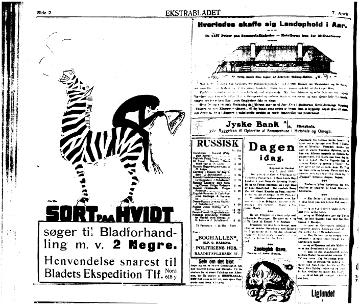 Sort paa Hvidt i Ekstra Bladet i 1918