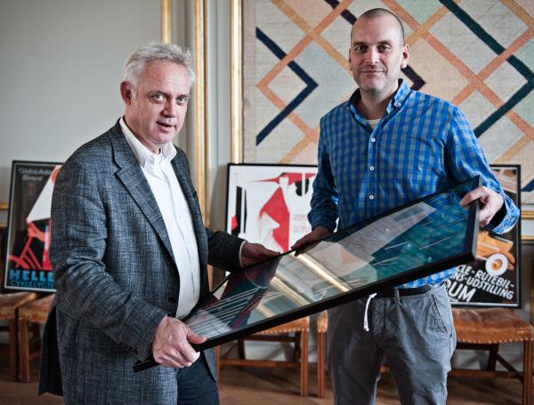 Fra lanceringen af Dansk Plakatkunst: Troels Rasmussen og Nikolaj Pors.